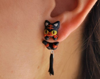Litten earring, inspired in Pokemon. Select 1 earring or a pair (2 in ''quantity'')