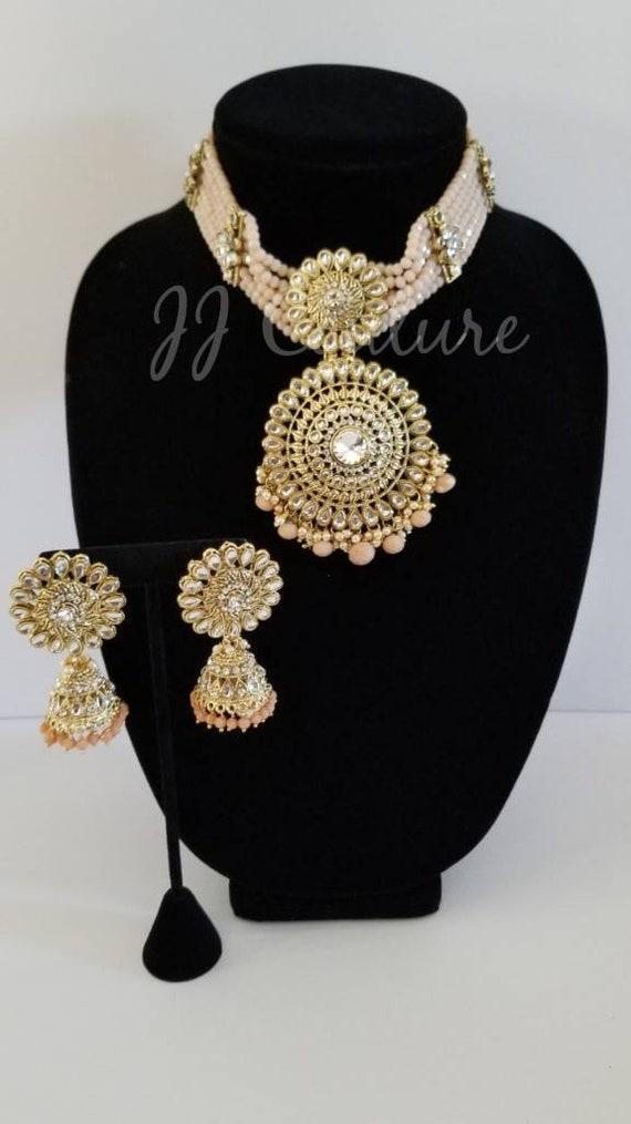 Peach Choker Set Peach and Gold Rani Choker Set Indian Jewellery Polki Jewelry Kundan Jewellery Indian Non Bridal Indian Bridal