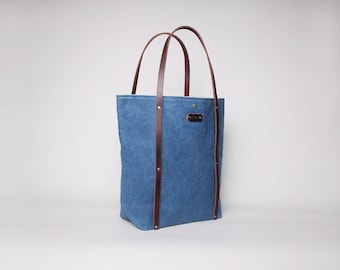 Waxed Canvas & Leather Tote Bag | Waxed Canvas Tote | Blue Waxed Canvas Tote Bag