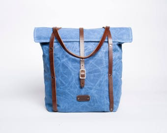 Waxed Canvas & Leather Tote Bag | Smoked Blue