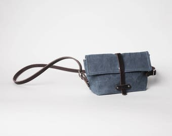 Waxed Canvas Leather Purse | Waxed Canvas Crossbody Purse | Gray Crossbody Purse | Minimalist Purse | Waxed Canvas Clutch