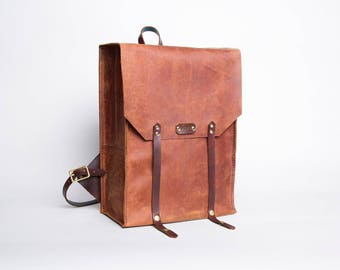 Leather Rucksack Backpack | Rustic Brown
