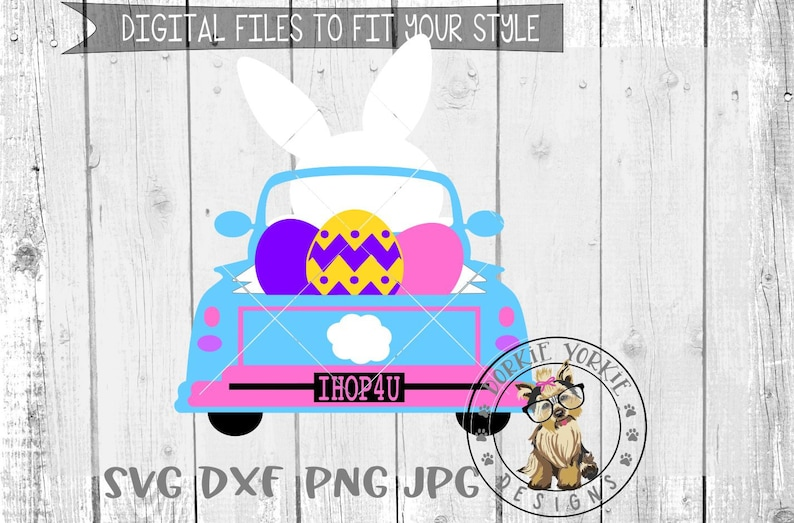 Png Jpg Easter Bunny Truck Eggs Easter Svg Dxf Eaaster Bunny Silhouette Cut File Eggs Cricut