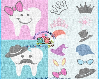 Tooth Fairy Complete Set -SVG/DXF/PNG - Studio, Cricut - cut files, hat, mustache, princess, wand, bunny ears, hat, tooth fairy bag