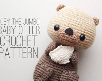 PATTERN ONLY - Joey the Jumbo Baby Otter Crochet Pattern, otter plush , otter crochet pattern, baby otter, baby otter crochet, rescue otter