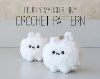 PATTERN ONLY - Fluffy Marshbunny Crochet Pattern, Marshmallow, Fluffy, Cute Marshmallow, Candy, Kawaii Marshmallow, Sweets, Forest Spirit