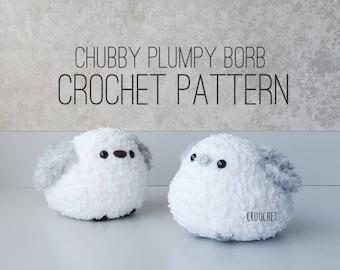 PATTERN ONLY - Plumpy Chubby Borb, Shima Enaga, Chubby Birb, Borb, bird crochet pattern, birb crochet, borb crochet, amigurumi bird pattern