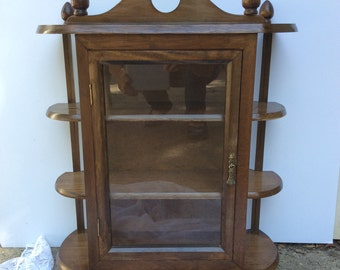 Beautiful Vintage Walnut Curio Cabinet With Glass Door And Windows