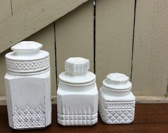 Set of Three Winter White Vintage Jar Canister Set