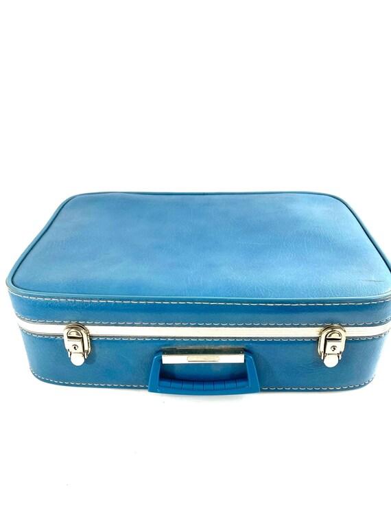 Vintage Light Blue Overnight Suitcase