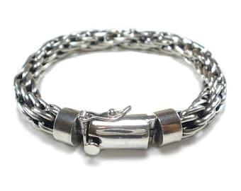ea427dbdfca47 Mens Silver Bracelet Chunky Multi Link Woven design chain