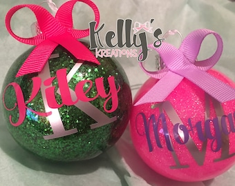 Personalized Christmas ornaments- name ornaments- kids ornaments-Christmas gifts- Christmas monogram-Glitter ornaments-personalized ornament