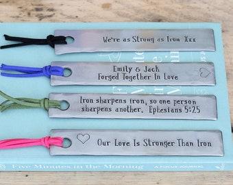 6th Anniversary Personalised Bookmark -  iron anniversary gift for him - personalized gift for her - hand stamped anniversary gift