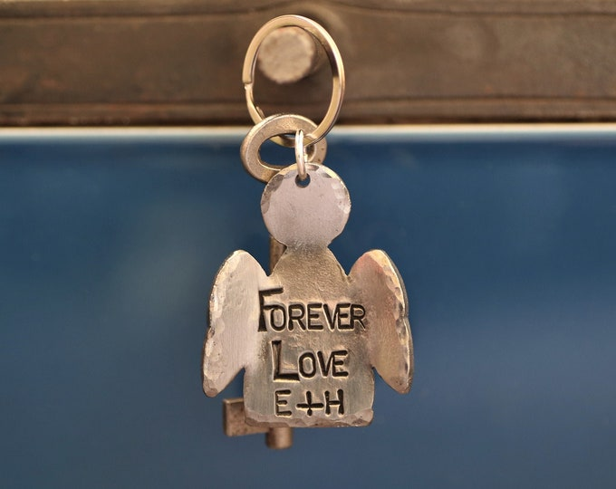 Personalised Angel Metal Keyring