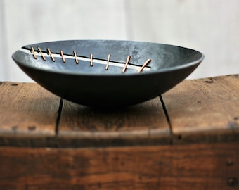 Contemporary Design Iron Bowl with Copper Detail