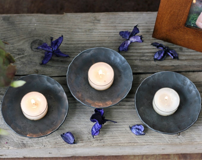 Set of tea light holders gift for her hand forged steel tea light dishes candle dishes gift for her housewarming gift for couple 7