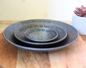 Set of steel Bowls - 11th Anniversary gift - personalized Bowl set for new home - custom steel gift for her - steel Bowl set for him 1