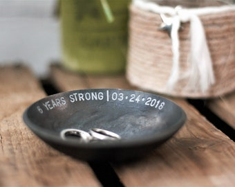 Iron Bowl 6th Anniversary gift for her personalized jewellery bowl gift for him iron wedding ring dish wedding ring bowl gift for couples