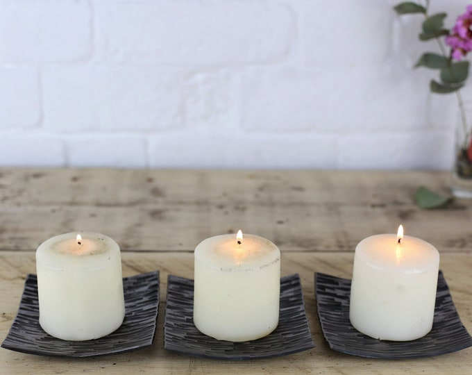 Set of Three Textured Candle Dishes