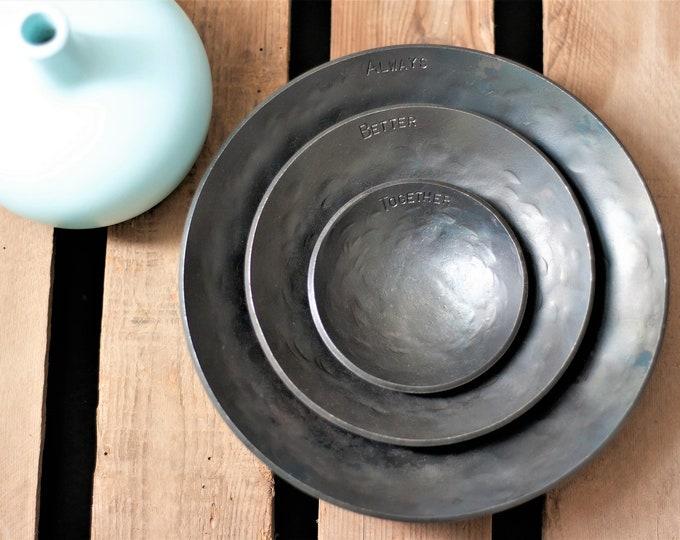 6th Anniversary Gift three iron bowls