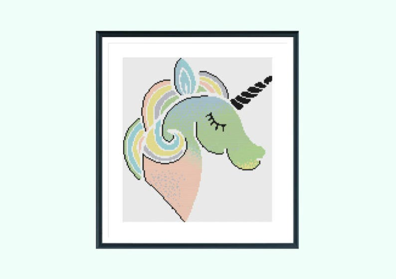Cross stitch pattern, ivy unicorn, instant download