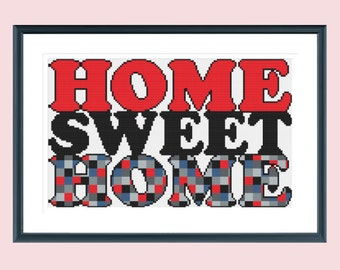 Cross stitch pattern, modern cross stitch pattern, home sweet home, retro design, instant download