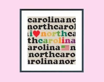 North Carolina cross stitch pattern, counted cross stitch, instant download