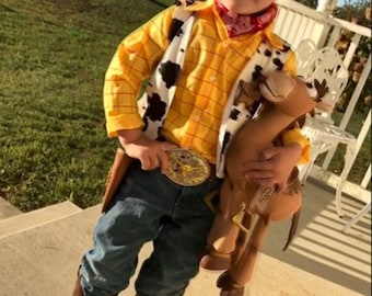 Woody Costume - Children/Toddler shirt, vest, leather belt with buckle, and leather gun holster