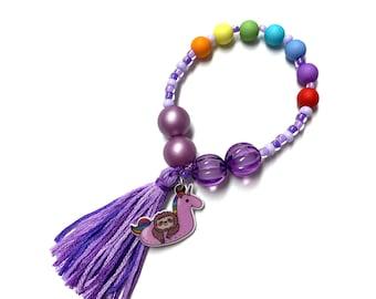 Unicorn Pool Floatie Sloth  Charm Bracelet- beach accessories, beach charm bracelet,  pool charm, pool bracelet, beach bow, pool bow