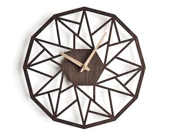 oversized wall clock 30 cm - 12 in | modern clock |  geometric clock | laser cut wall clock |  wenge wall clock | decorative clock |