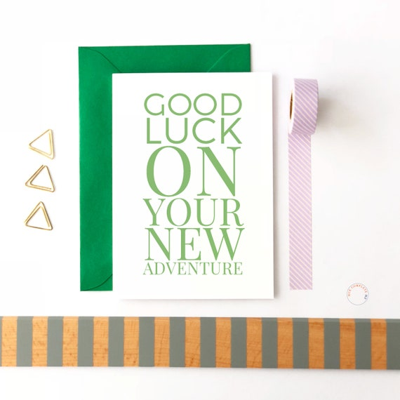 Good Luck On Your New Adventure, Good Luck Card, New Job Card, Moving Card, Leaving Job Card, Retirement Card, New Beginnings, Moving Away