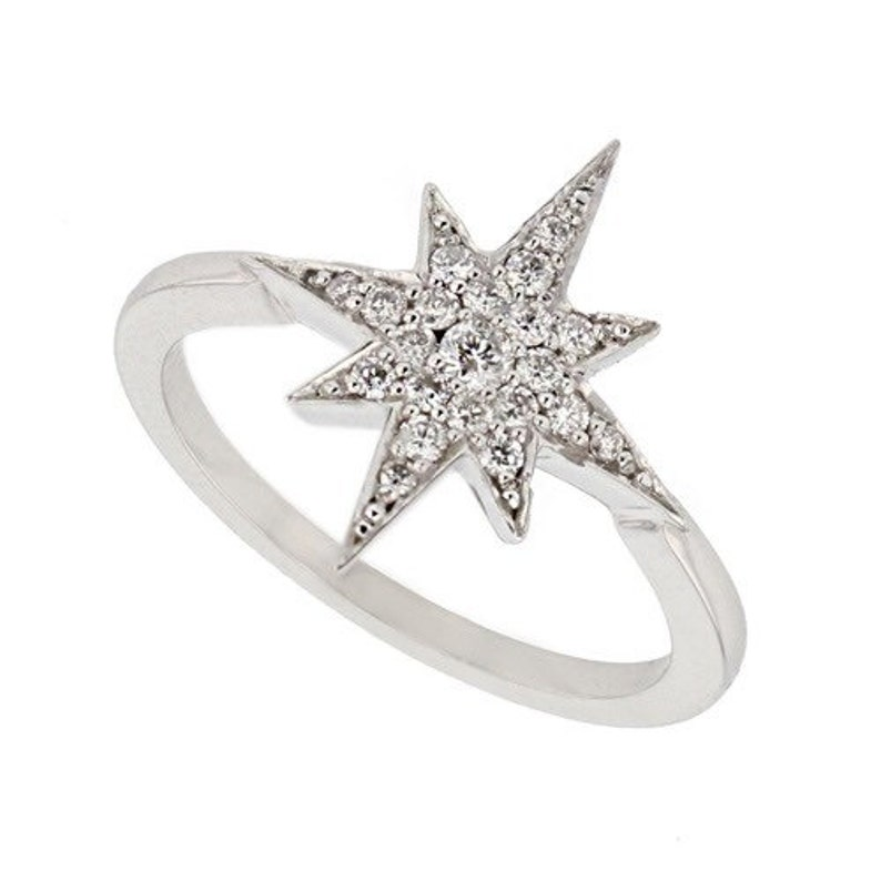 Star Ring 14K Rose Gold Ring Astrology Star Diamond Ring,Fashion Jewelry.Birthday Mother/'s Day Wedding Engagement