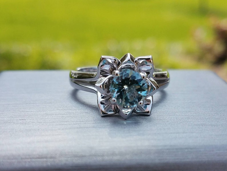 Wedding Ring Engagement ring 14k White Gold AQUAMARINE Flower Ring Birthday Gift. Promise Ring