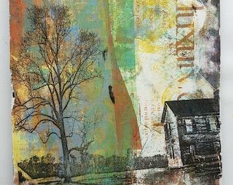 Monoprint on wood   Country scene   House & tree   By Nitsa Malik