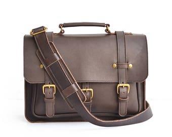 Businessman Leather Briefcase, Mens Messenger Bag, Vegetable Tanned Leather Briefcase, Laptop Bag, Crossbody Satchel, Leather Messenger