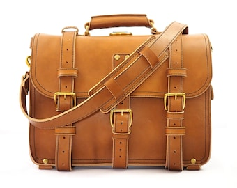 Heavy Duty Leather Messenger Bag Men, Veg Tan Leather Briefcase Mens, Leather Laptop Bag Women, Backpack Satchel, Crossbody Bag