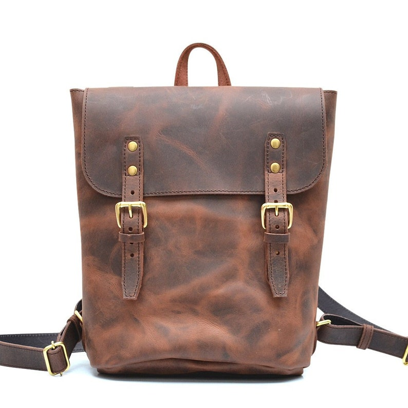467e3927c8f Vintage Leather Rucksack | Womens Small Leather Backpack | Lightweight Day  Pack for Men & Women | Vintage Book Bag or Diaper Bag