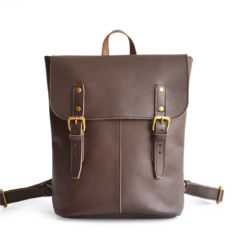 5ad5c1fe1f3 Leather Rucksack | Womens Small Leather Backpack | Vintage Backpack for Men  & Women | Brown Leather Day Pack or Diaper Bag, Fits 13
