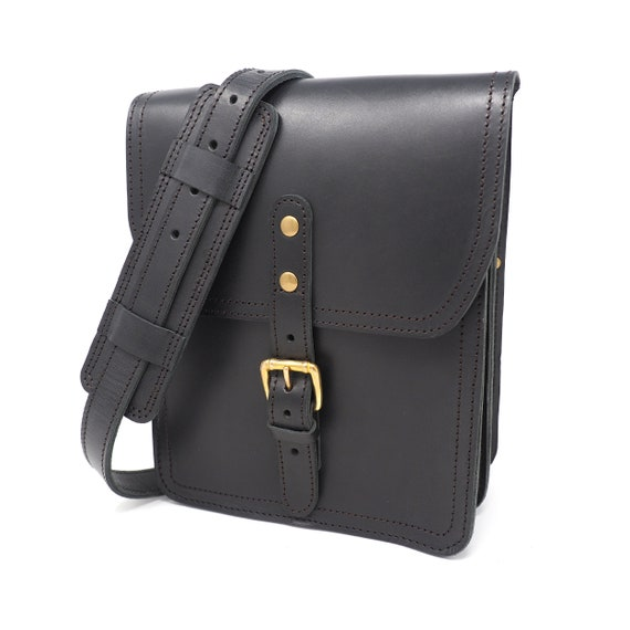 Black Vertical Leather Satchel Leather Crossbody Bag Leather   Etsy 0e0aadec83