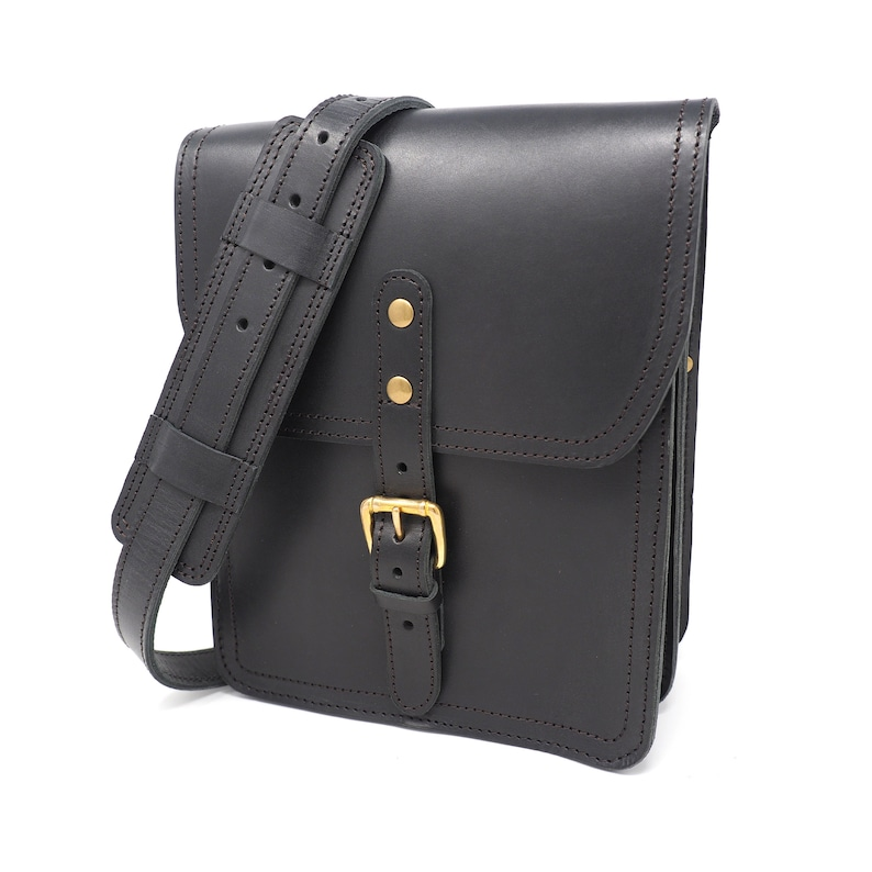 Black Vertical Leather Satchel Leather Crossbody Bag Leather  e504b5517