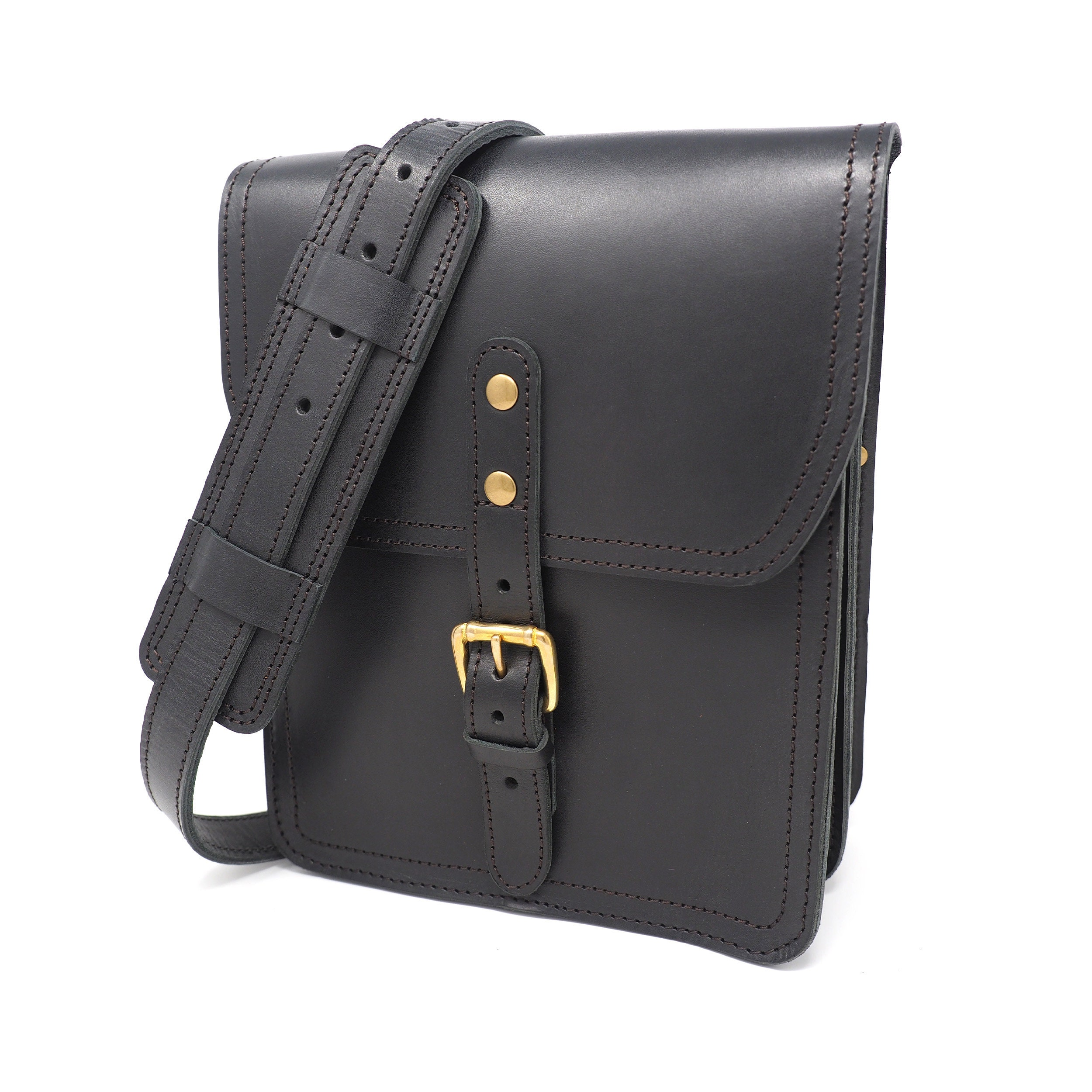 441d7f77c Black Vertical Leather Crossbody Bag for iPad Mens & Womens | Etsy