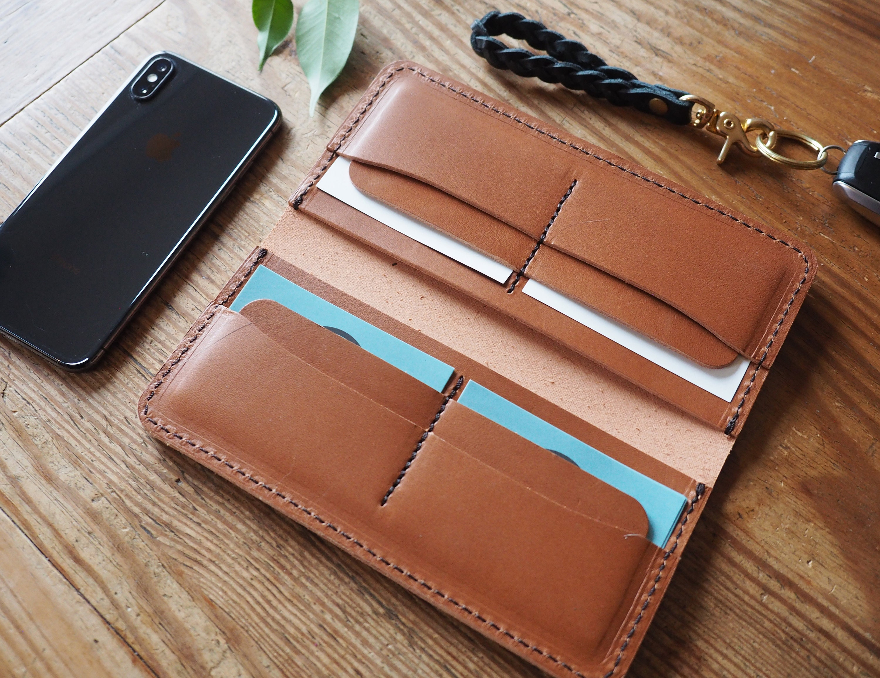 Genuine Leather Checkbook Cover 8 ID Credit Card Long Wallet Holder Men Lady