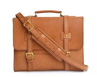 Simple Leather Briefcase, Veg Tan Leather Messenger Bag Men, Leather Satchel, Leather Laptop Bag Women, Travel Bag, Briefcase Men, Crossbody