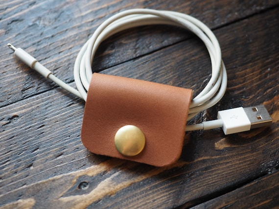 Solid Leather Snap Cord Organizer; Cord Wrap; Leather Cord Keeper