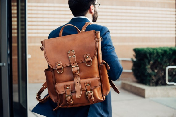 ee2be9508a0c Mens Leather Backpack Tobacco   Light Brown Large Laptop