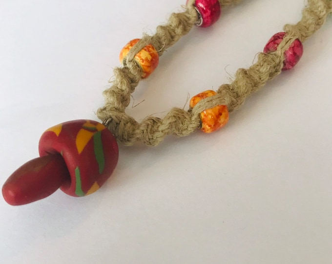 Handmade Hemp Necklace with Clay Mushroom Pendant Red Orange