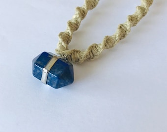 Blue Stone Pendant on Handmade Hemp Necklace