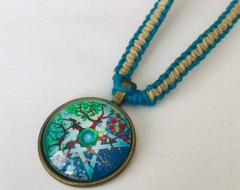 Handmade Hemp Necklace with Glass Cabochon Pendant