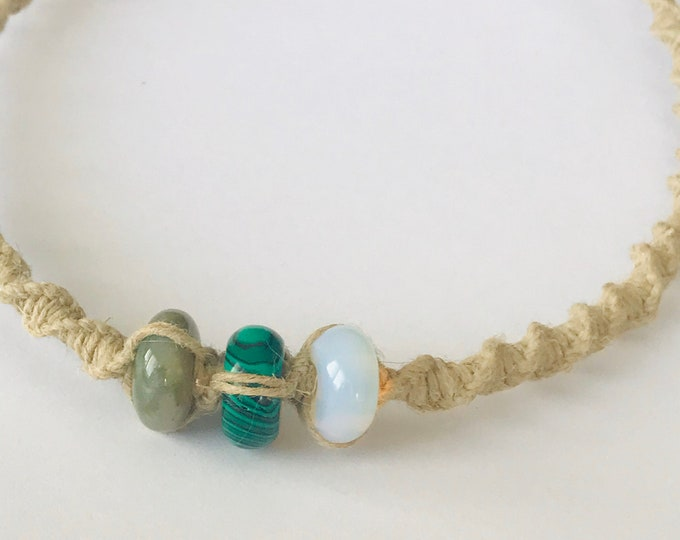 Green Beads on a Handmade Hemp Necklace