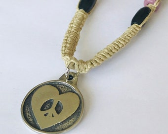 Peace Sign and Heart Hemp Necklace